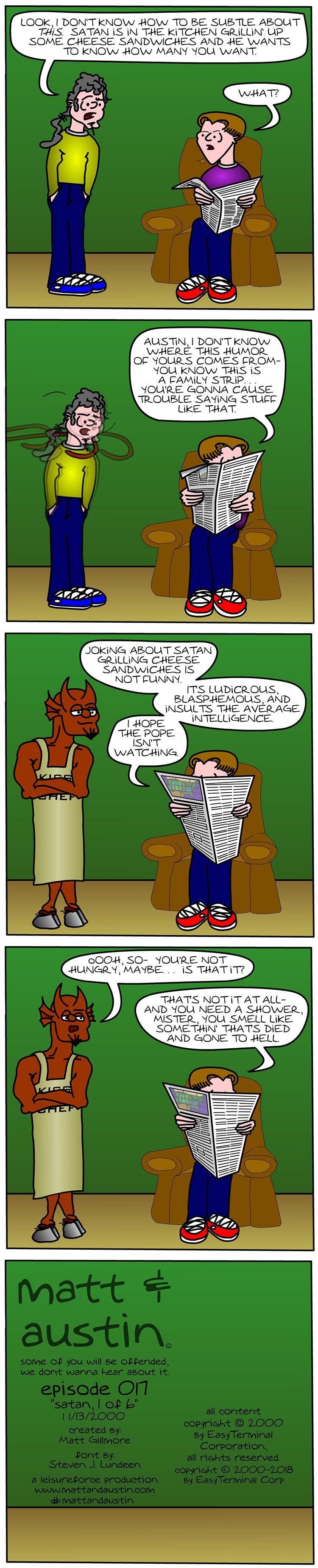 Webcomic The Matt And Austin Comic Strip #017 Satan, 1 of 6