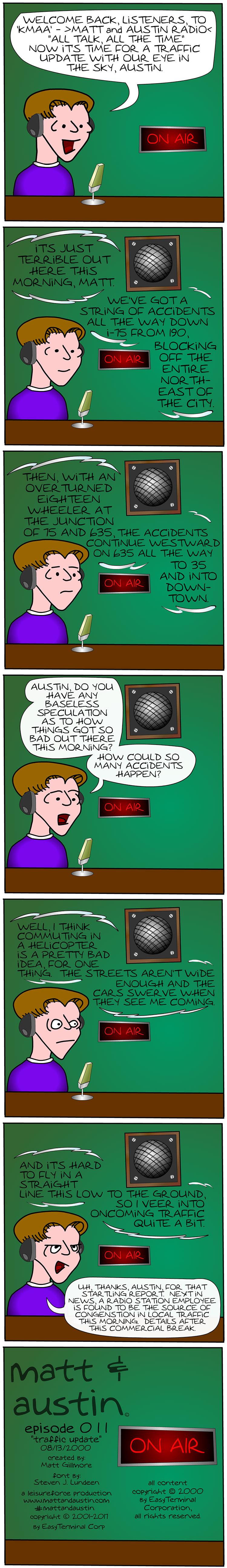 Webcomic The Matt And Austin Comic Strip #011 Traffic Update