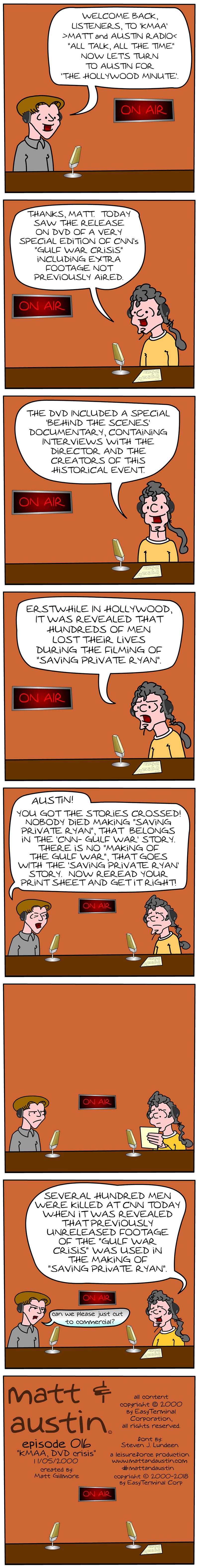 Webcomic The Matt And Austin Comic Strip #016 KMAA DVD Crisis